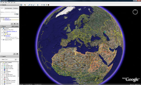 Google Earth View of Europe
