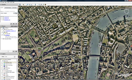 Google Earth - London up close