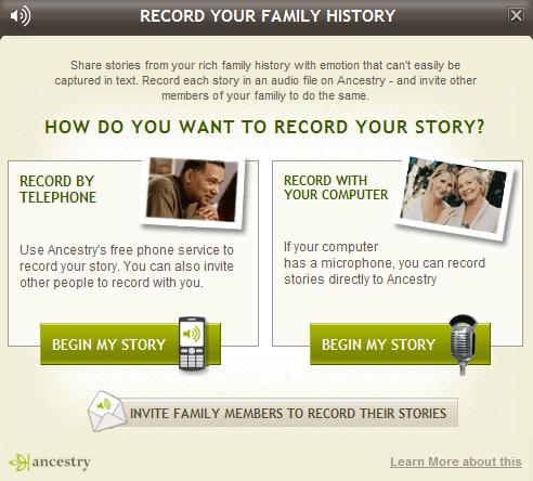 Voice Recording on Ancestry.com